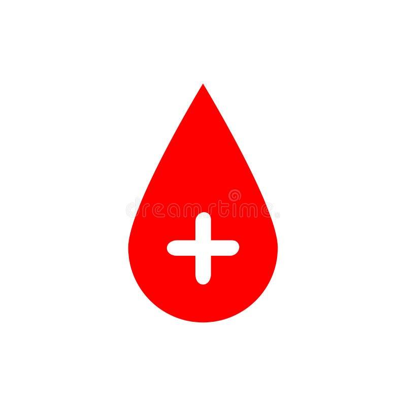 Droppe av blod Röd vektorillustration med det vita corsstecknet Symbol av bloddonation vektor illustrationer
