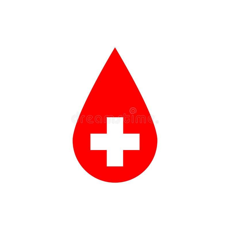Droppe av blod Röd vektorillustration med vitkorstecknet vektor illustrationer
