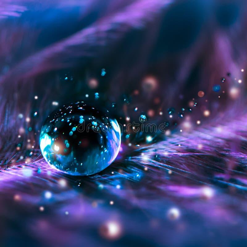 Droppe av daggmakroen Abstraktionen är en galax, jorden, födelsen av ett nytt liv, arkivbilder