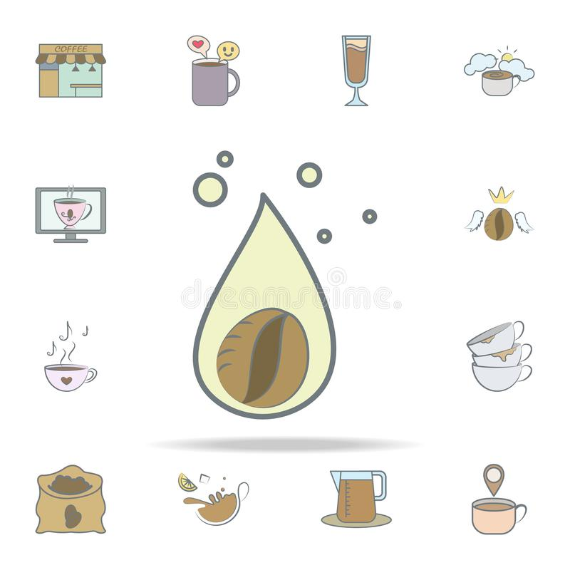 droppe av kaffesymbolen universell uppsättning för kaffesymboler för rengöringsduk och mobil royaltyfri illustrationer