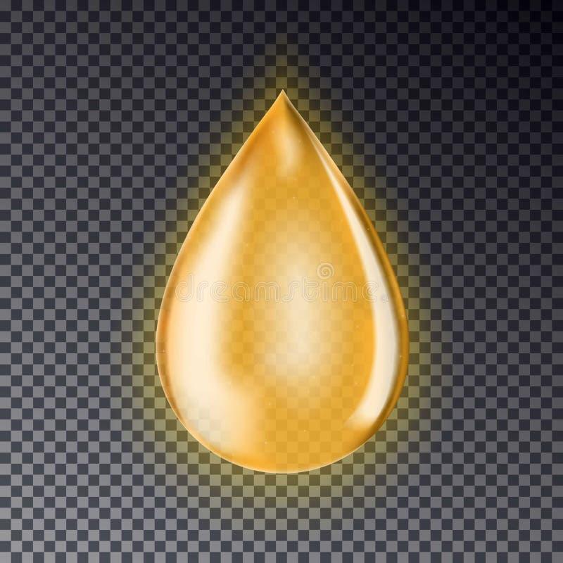 Droppe av olja som isoleras på en genomskinlig bakgrund Realistisk guld vektor illustrationer