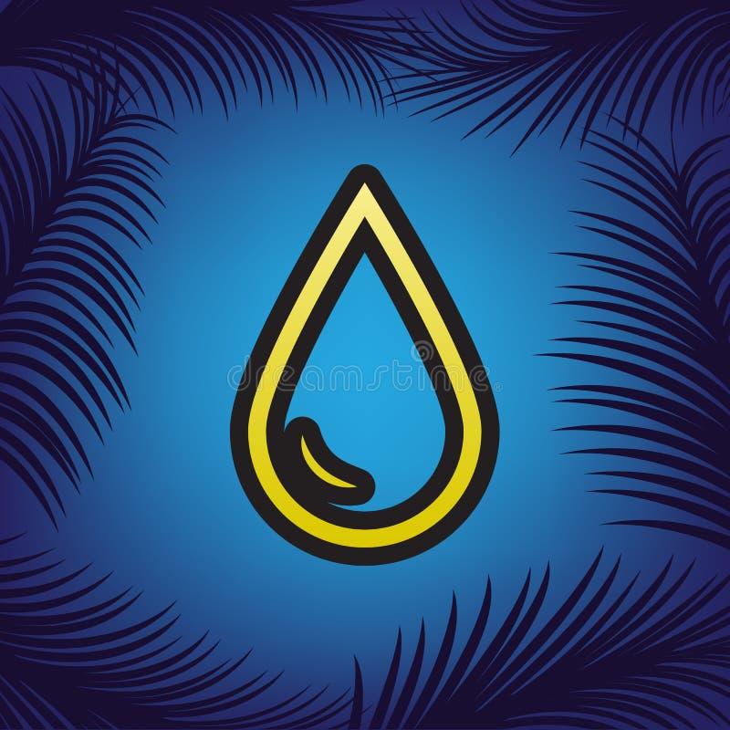 Droppe av vattentecknet vektor Guld- symbol med svart kontur på bl royaltyfri illustrationer