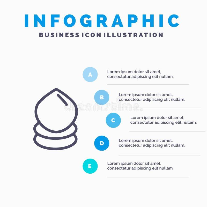 Droppe Eco, ekologi, miljölinje symbol med för presentationsinfographics för 5 moment bakgrund vektor illustrationer
