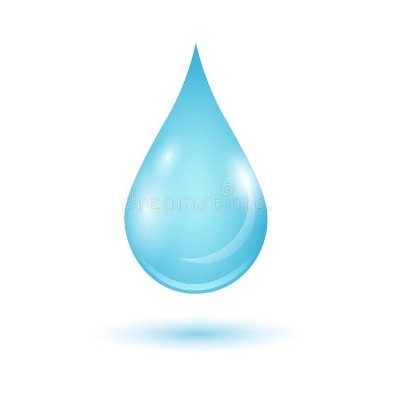 Droppe för blått vatten för vektor som isoleras på vit bakgrund royaltyfri illustrationer