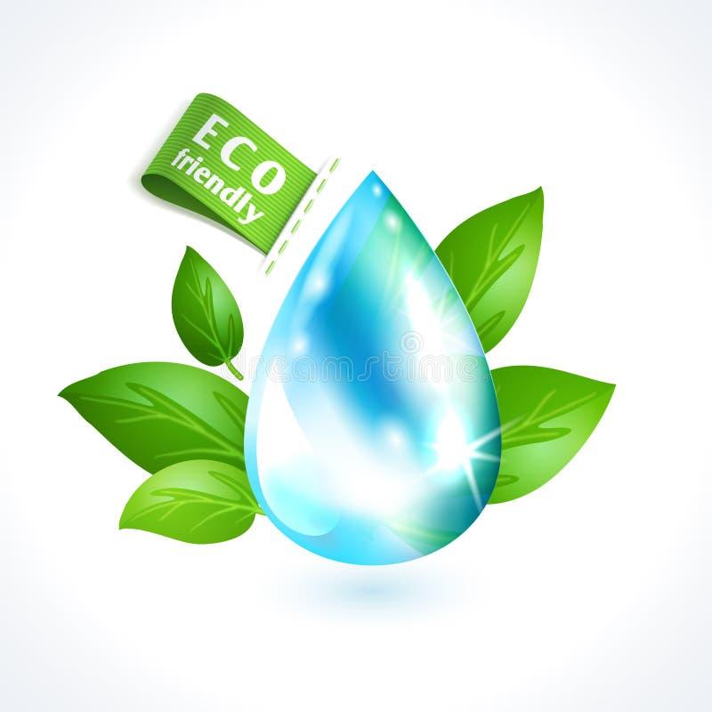 Droppe för ekologisymbolvatten vektor illustrationer