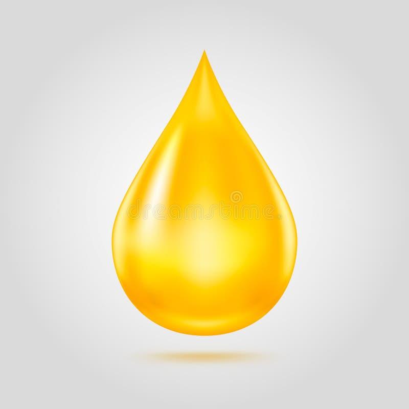Droppe för guld- olja som isoleras på ljus - grå bakgrund stock illustrationer