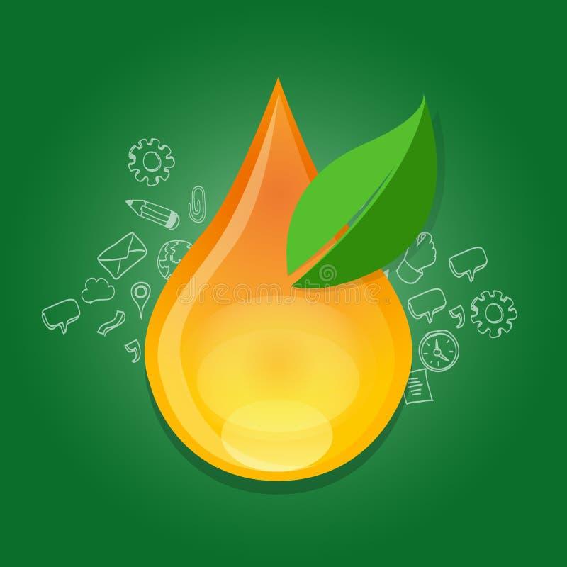 Droppe för vatten för liten droppe för förbrukning för gas för bränsle för Bio för bränsleethanolgräsplan för energi för alternat royaltyfri illustrationer