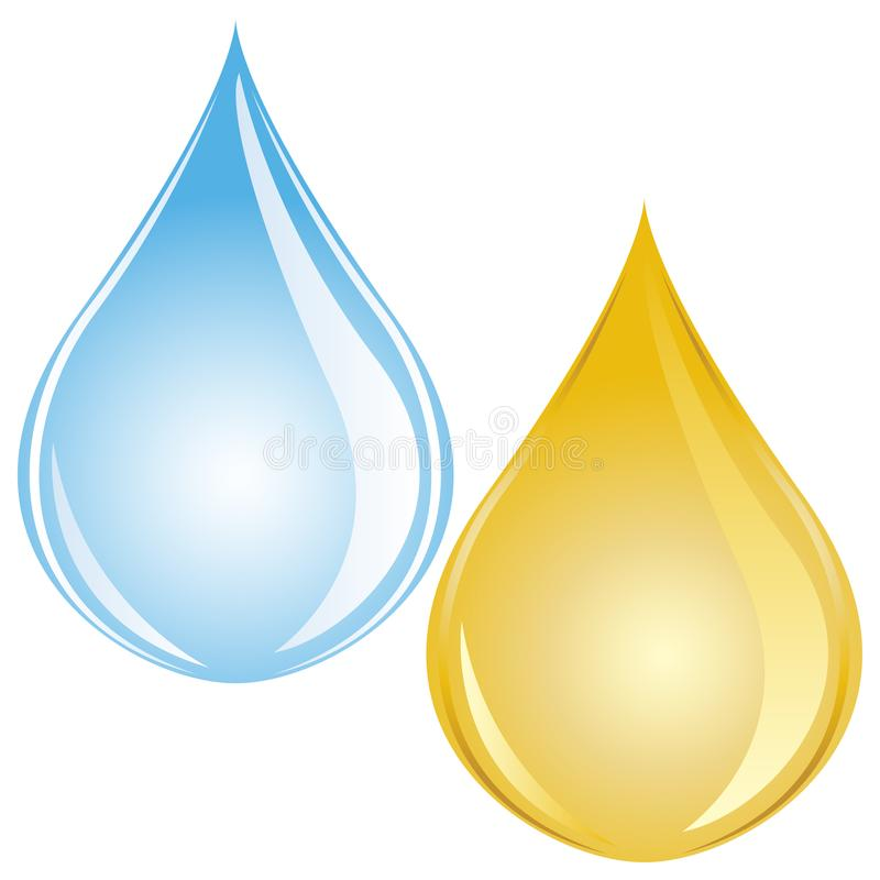 Droppe för vektorillustrationvatten och olje- droppe vektor illustrationer