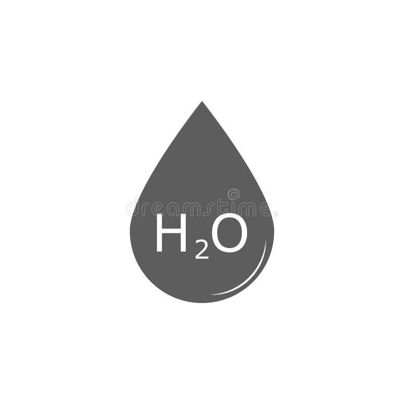 Droppe och kemisk formel av vattensymbolen Beståndsdel av utbildningssymbolen Högvärdig kvalitets- symbol för grafisk design Teck royaltyfri illustrationer