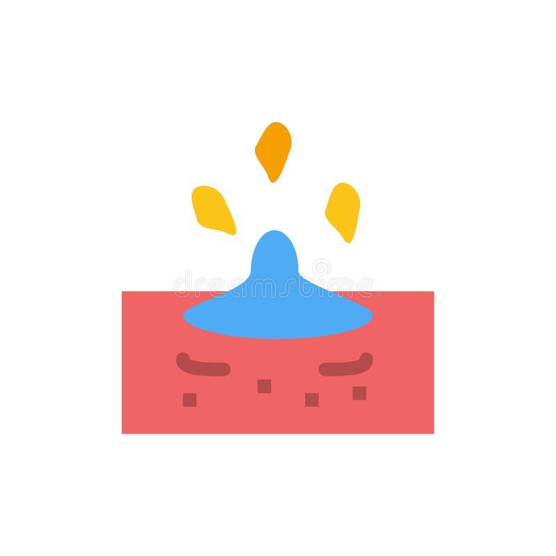 Droppe regn som är regnigt, plan färgsymbol för vatten Mall för vektorsymbolsbaner royaltyfri illustrationer