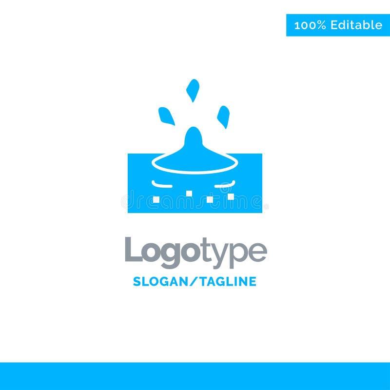 Droppe regn som är regnigt, vatten blåa fasta Logo Template St?lle f?r Tagline royaltyfri illustrationer