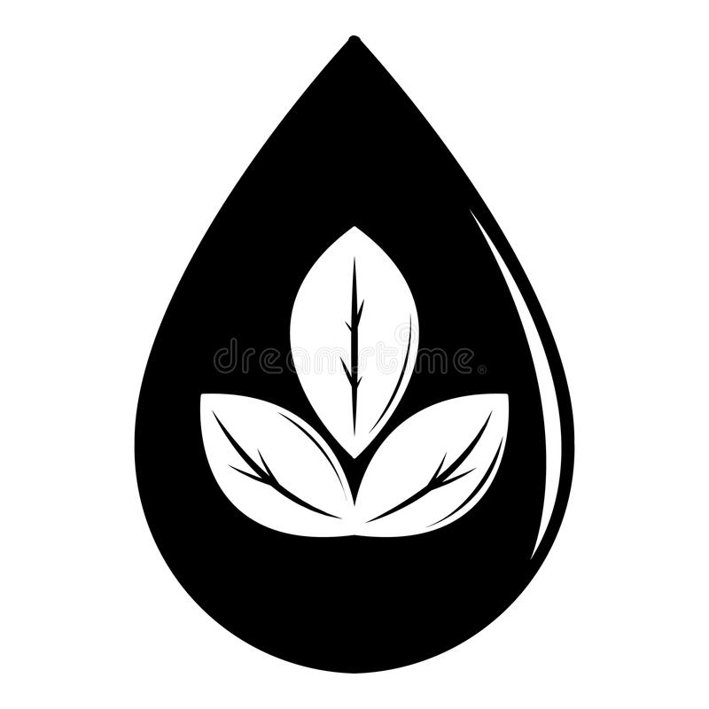 Droppecosymbol, enkel svart stil stock illustrationer