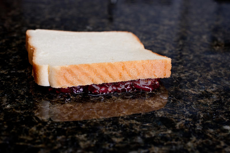 Dropped jelly sandwhich royalty free stock photography