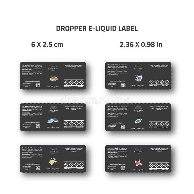 Dropper ε-υγρό σχέδιο ετικετών για τη συσκευασία εμπορικών σημάτων ε -ε-cig ελεύθερη απεικόνιση δικαιώματος