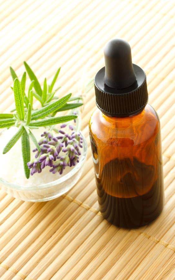 dropper μπουκαλιών lavender δεντρολί&beta στοκ φωτογραφία