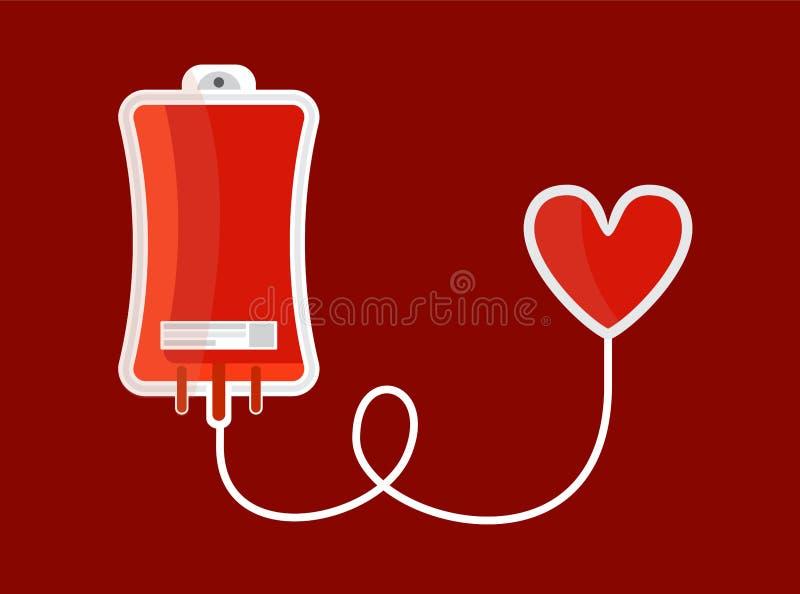 Dropper con el corazón Ejemplo del concepto de la donaci?n de sangre Estilo plano Vector ilustración del vector
