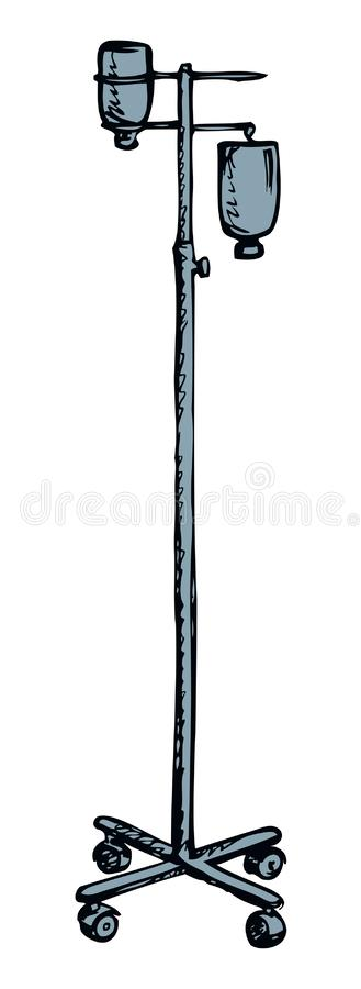 Stand for Intravenous therapy. Vector drawing. Dropper remedy iv supply system pole chamber device aqueous dextrose blood aid bag support isolated on white royalty free illustration