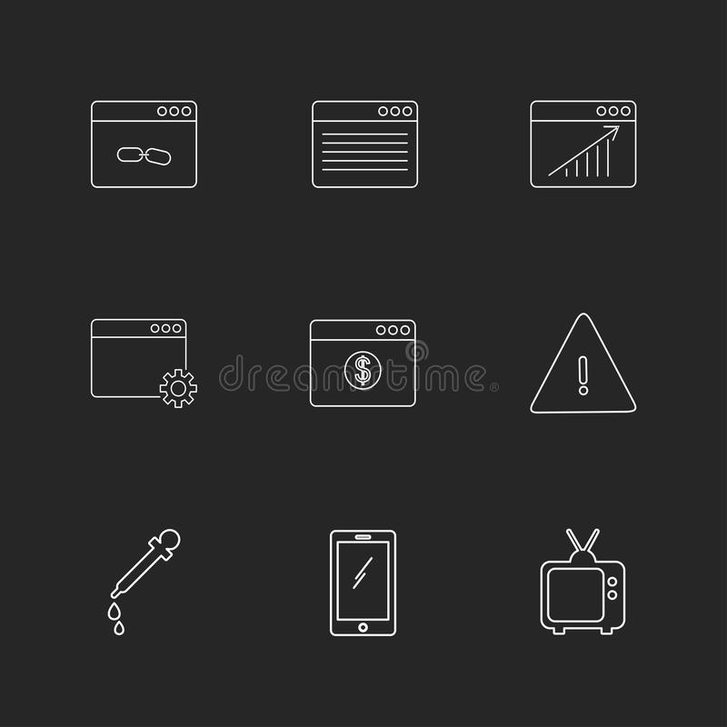 Dropper , smart phone , tv , error , dollar , windows , ui , lay. Out , web , user interface , technology , online , shopping , chart , graph , business , seo royalty free illustration