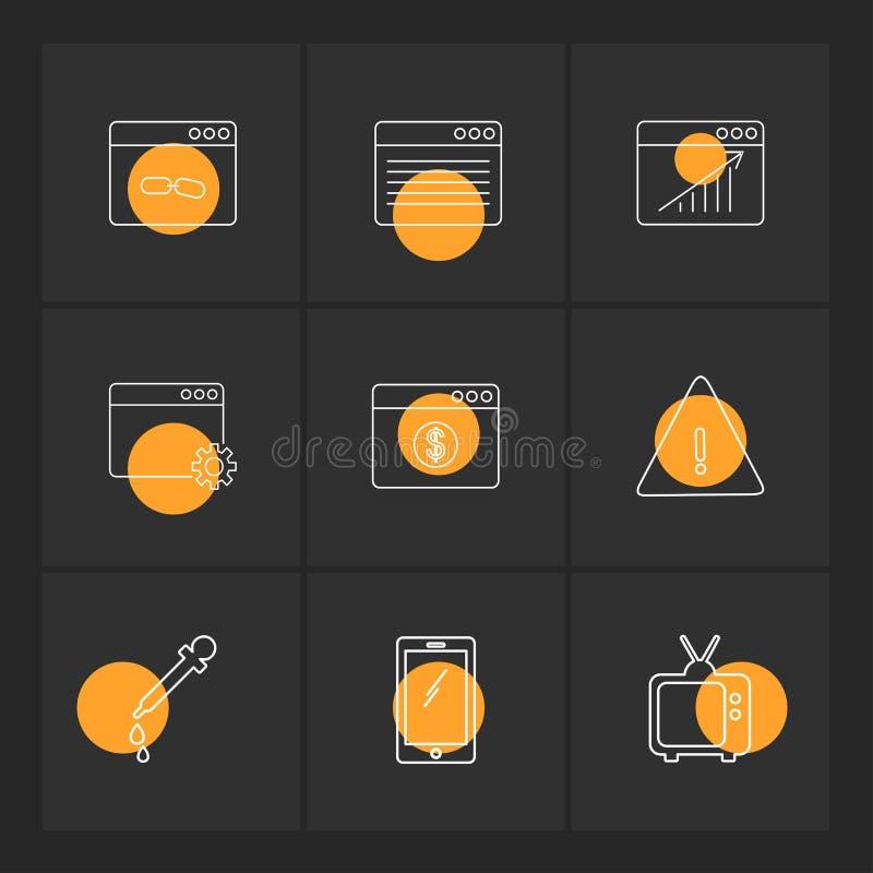 Dropper , smart phone , tv , error , dollar , windows , ui , lay. Out , web , user interface , technology , online , shopping , chart , graph , business , seo stock illustration