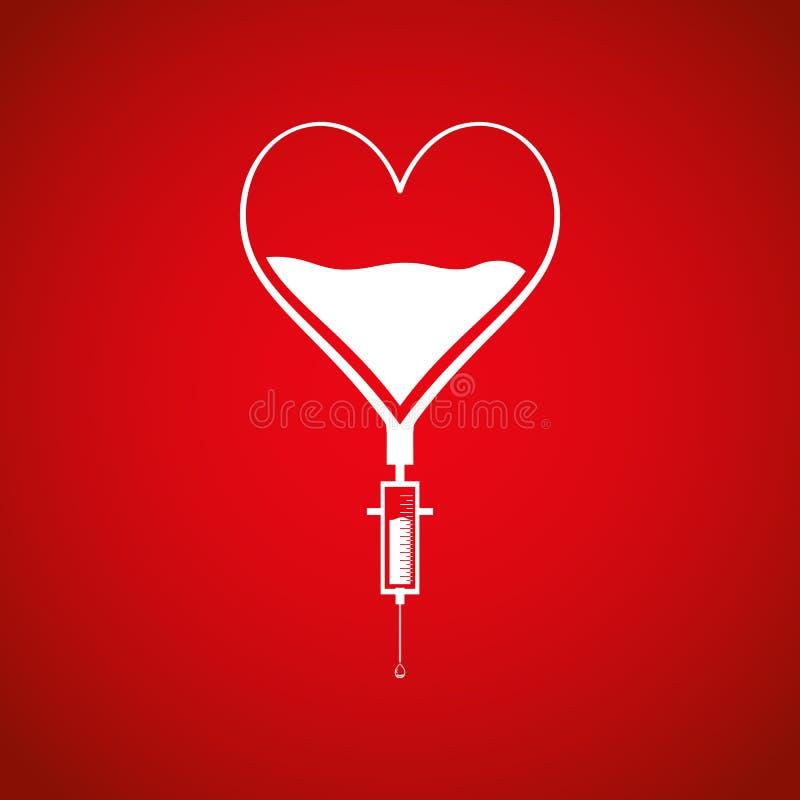 Droppglass för bloddonation från hjärta Räddninglivbegrepp royaltyfri illustrationer