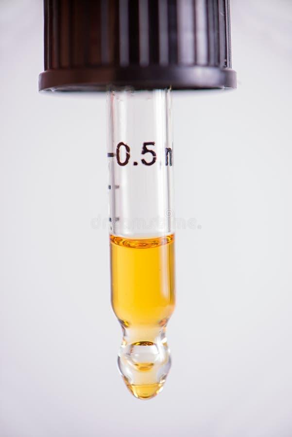 Droppglassen med CBD-olja, cannabis bor isolerad kådaextraktion - royaltyfria foton