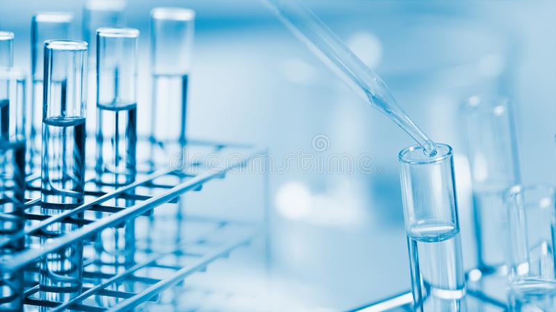 Laboratory research and development concept. Dropping chemical liquid to test tube, laboratory research and development concept. scientist sample chemistry or royalty free stock photo