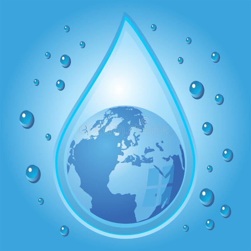 droppjordklot inom vatten stock illustrationer