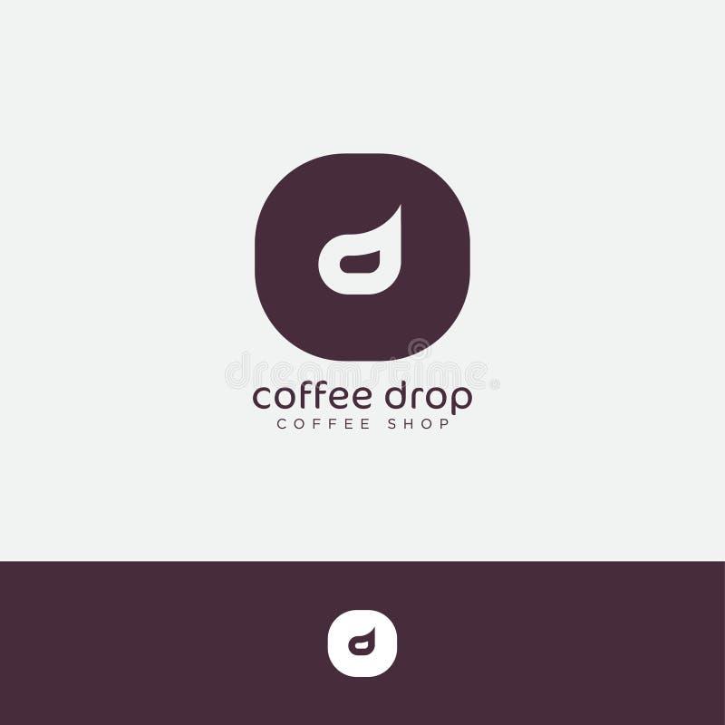 Dropplogo Kaffedroppemblem Bokstav D i runt emblem stock illustrationer