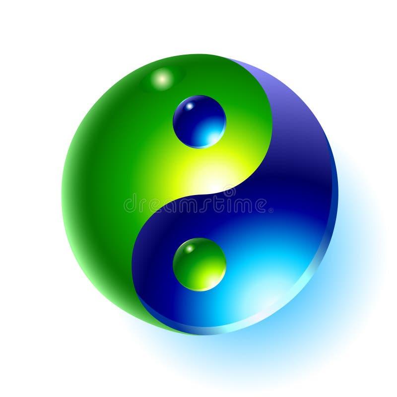 droppvattenyang yin royaltyfri illustrationer