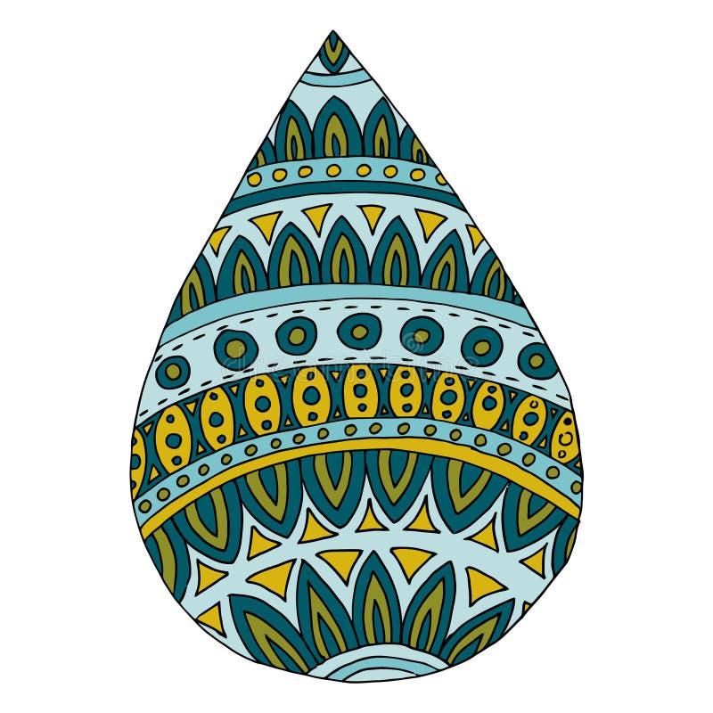 Droppzenartvektor Vattenzentova och zenklotter Regnzentangle, zendoodle Bubbla för färgläggningbok Tatoo drib, klick, pärla, drib vektor illustrationer