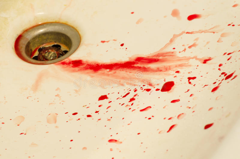 Drops of blood stained sink. Drops of blood stained sink stock image