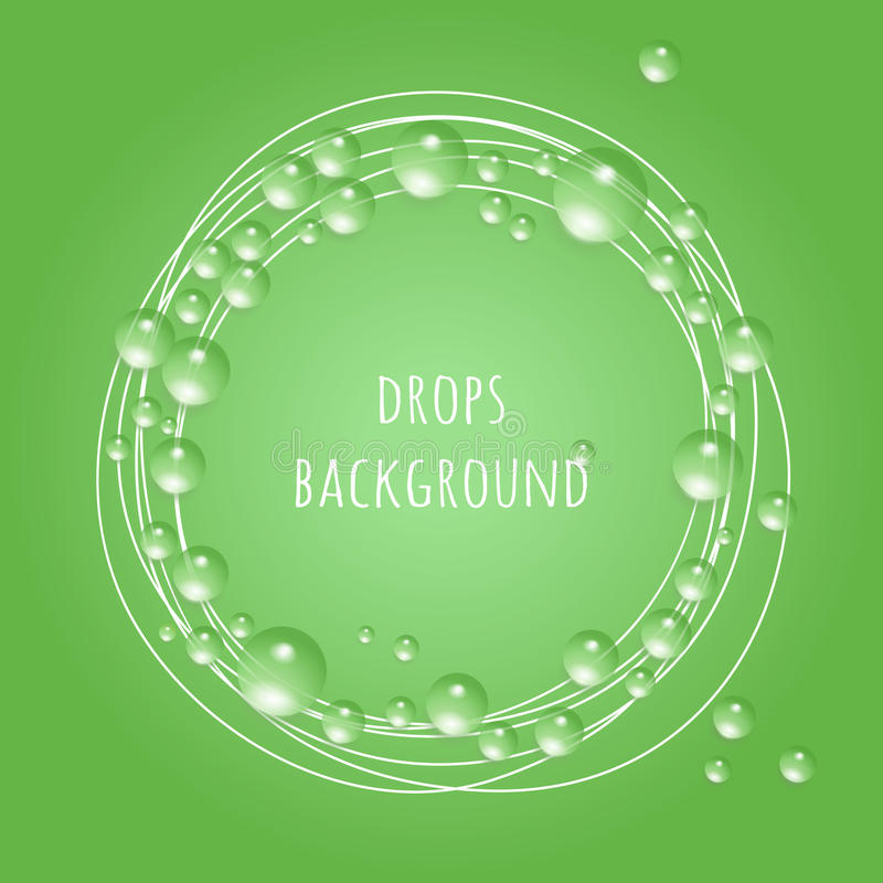 Drops on Green Eco background, royalty free illustration