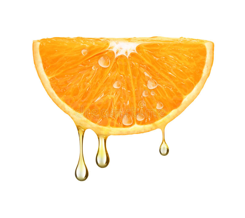 Drops of juice falling from orange half isolated on white stock image