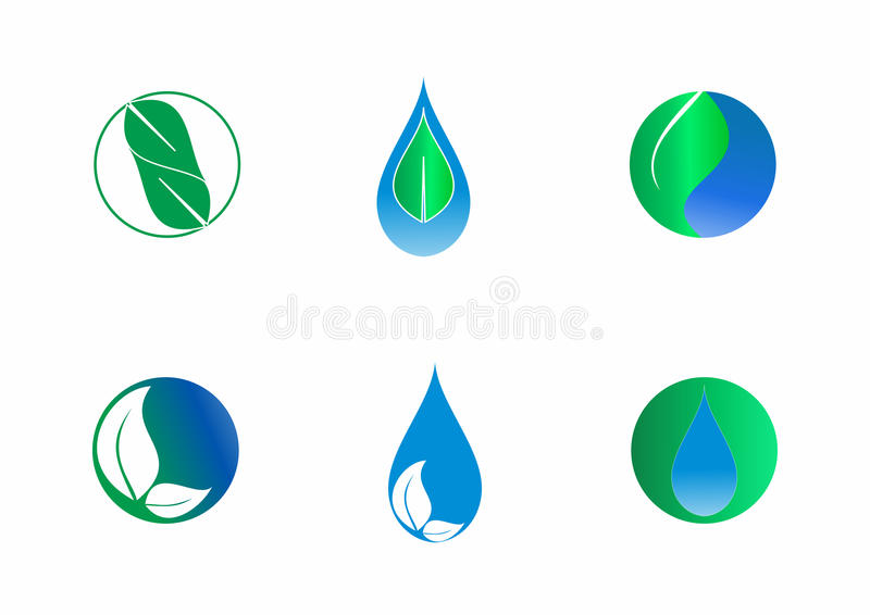 Drops and leaves, nature drops and leaves elements vector design, vector logo template set. royalty free illustration