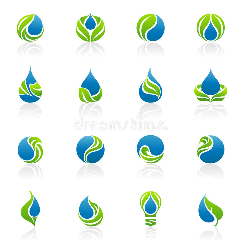 Drops and leaves. Vector logo template set. royalty free illustration