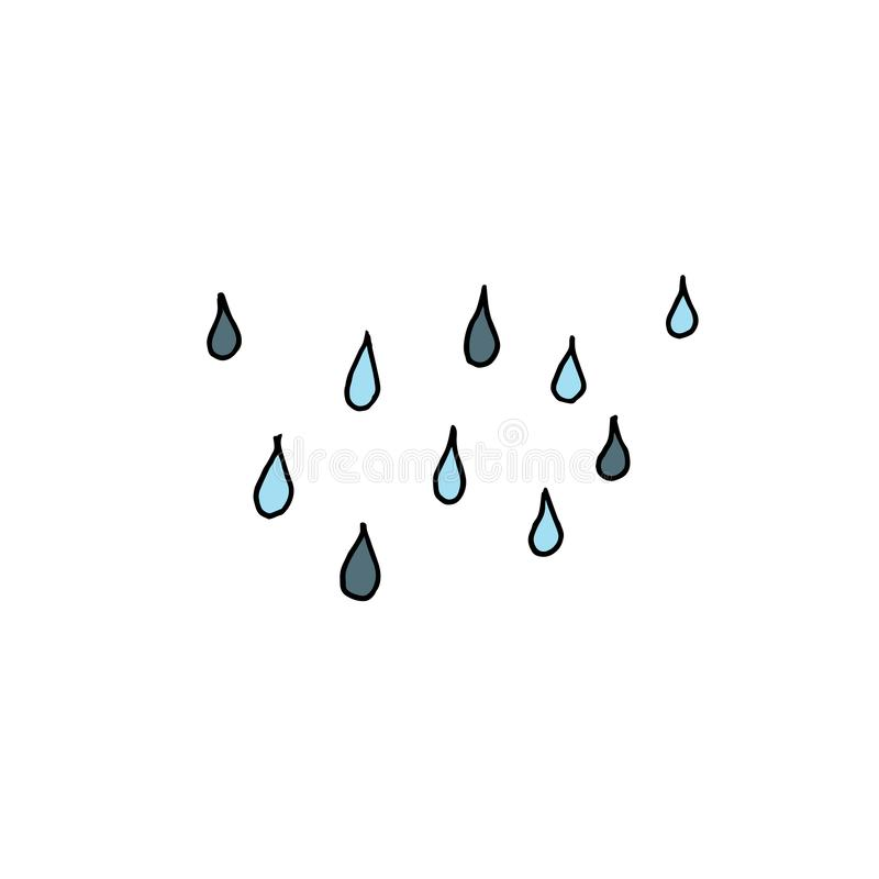 Rain drops. Outline with different colors on white background. Vector illustration stock illustration