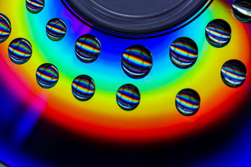 Drops of a rainbow, CD. Abstract, refract, unique royalty free stock photography