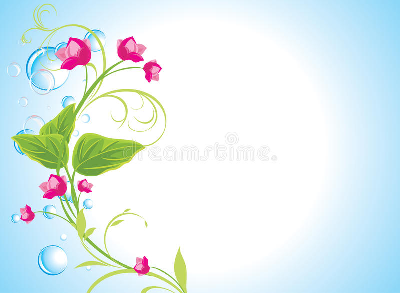 Download Drops And Sprig With Pink Flowers Stock Vector - Image: 20845615