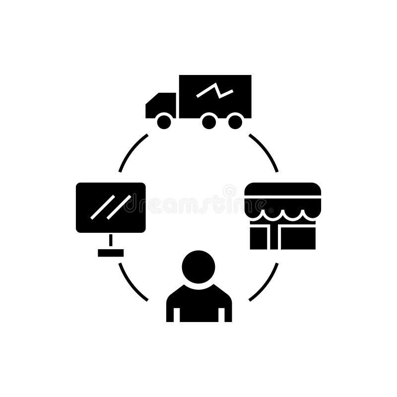 Dropshipping - nave di goccia - icona di logistica, illustrazione di vettore, segno nero illustrazione di stock