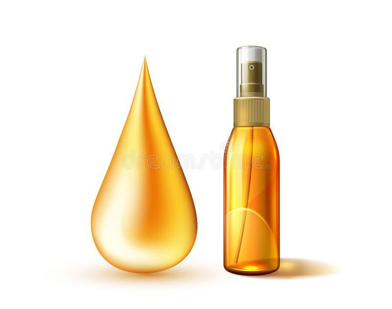Dropt del aceite de la maqueta del espray del sunblock de la protección solar del vector stock de ilustración