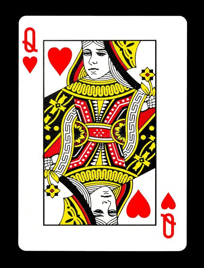 Drottning av hjärtor som spelar kortet, royaltyfria foton