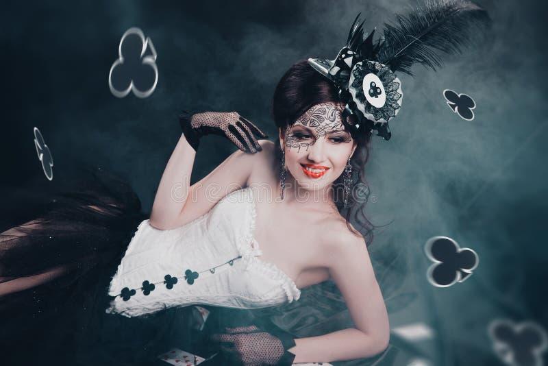 Drottning av klubbor royaltyfria bilder