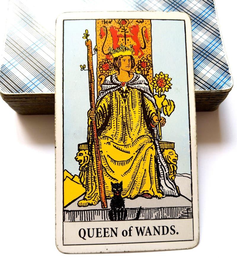 Drottning av trollstavtarokkortet royaltyfria bilder