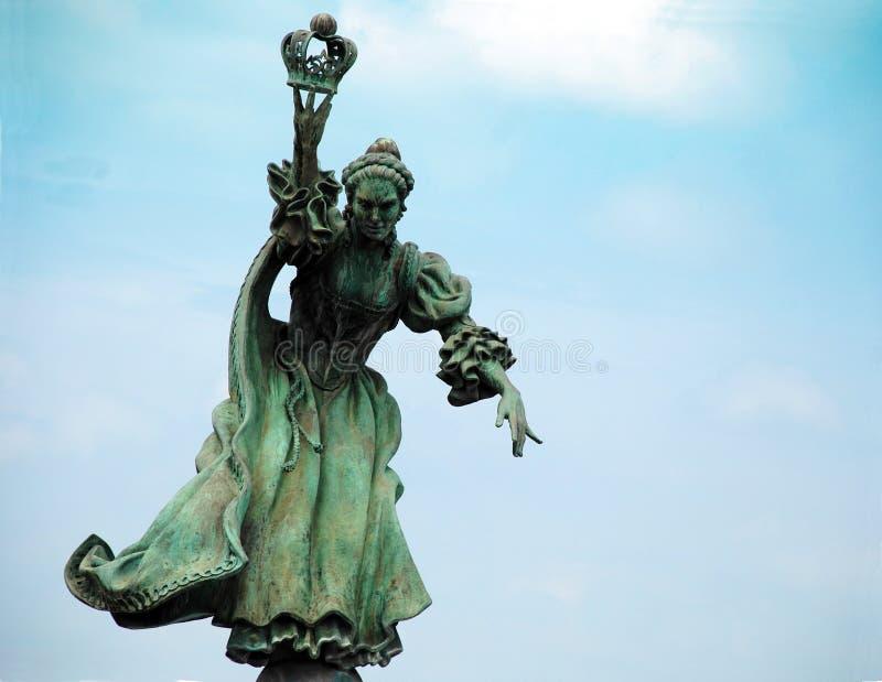 Drottning Charlotte Statue Green Patina arkivbild
