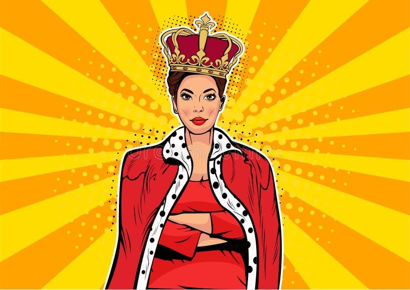 Drottning för affär för popkonst Affärskvinna med kronan Kvinnaledare stock illustrationer