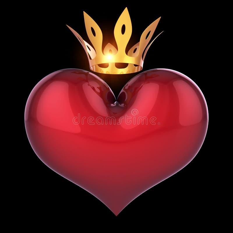 Drottning för konunghjärtaform som är röd med guld- kronaabstrakt begrepp på svart royaltyfri illustrationer
