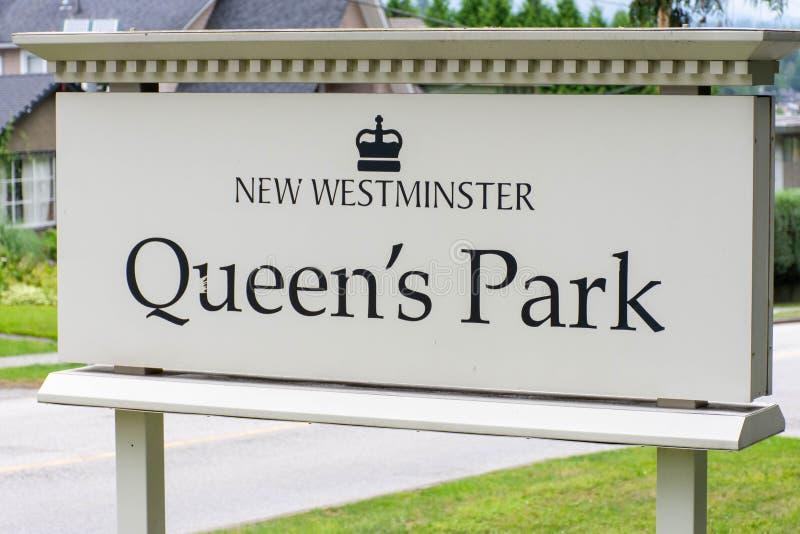 Drottningen parkerar ingångstecknet i nya Westminster, British Columbia, Kanada royaltyfri bild