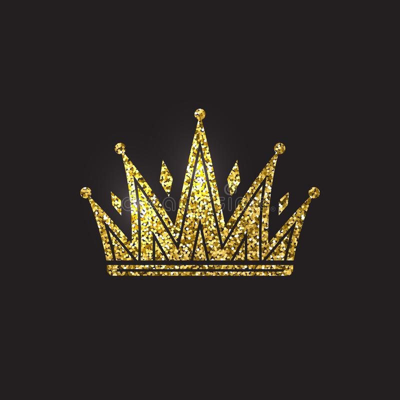 Drottningkrona, kunglig guld- huvudbonad Guld- tillbehör för konung Isolerade vektorillustrationer Elitgruppsymbol på svart stock illustrationer