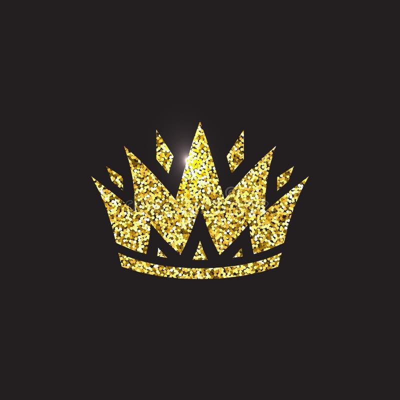 Drottningkrona, kunglig guld- huvudbonad Guld- tillbehör för konung Isolerade vektorillustrationer Elitgruppsymbol på svart vektor illustrationer
