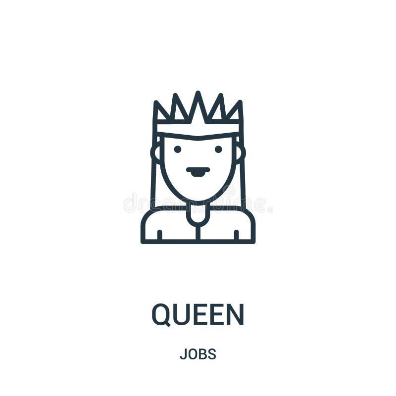 drottningsymbolsvektor från jobbsamling Tunn linje illustration f?r vektor f?r drottning?versiktssymbol Linj?rt symbol stock illustrationer